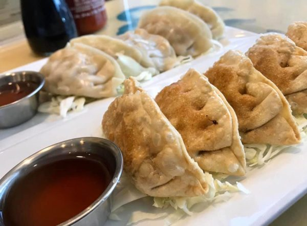 Dumplings with house made sweet and sour sauce, so good